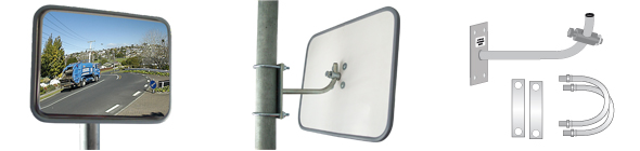 Outdoor Rectangular Stainless Steel Heavy Duty Convex Mirror Feature